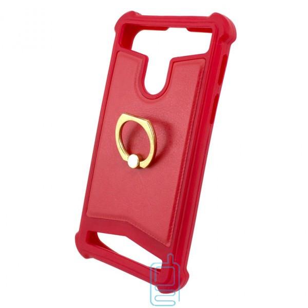 Универсальный чехол-накладка силикон-кожа с кольцом 3.5-4.0″ красный