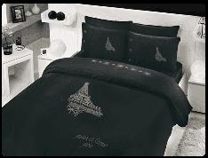 КПБ HOBBY BAMBOO Crystal Paris чорний 200*220/4*50*70 37302 евро