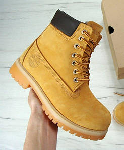 Женские зимние ботинки Timberland 6 inch Yellow С МЕХОМ (Топ реплика ААА+)