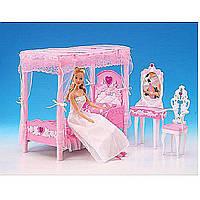 Мебель для куклы Gloria 2614  для спальни,  кровать,  туалетный столик, в коробке 33*17*5, 5 см.