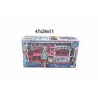Мебель для куклы Frozen DN807-FZ  стол,  стул,  тележка на колесах,  аксесс.,  в коробке 47*26*11  см.