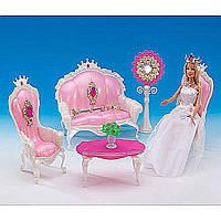 Мебель для куклы Gloria 1204  для гостинной,  журнальный столик,  диван,  2 кресла,  аксес.,  в коробке 32*21*9.5 см.