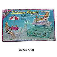 Мебель для куклы Gloria 2578 с бассейном для кукол 29  см., горка, шезлонг, зонт, 2стула, в коробке 36*22*7 см.