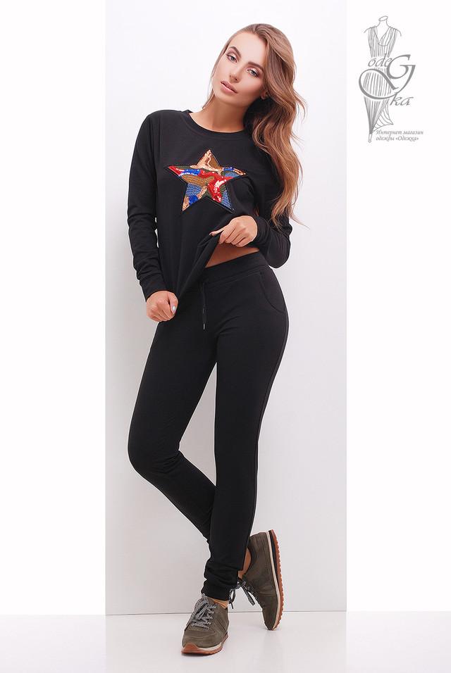 Черный цвет Свитшота женского и штанов Зирка
