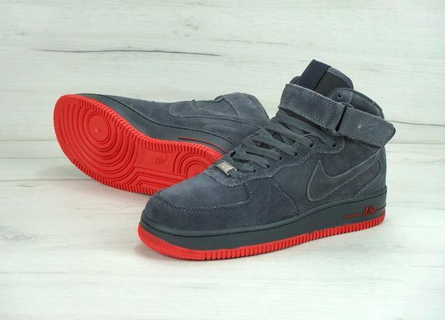 Nike Air Force 1 High Dark Gray Orange Suede Winter