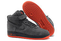 Кроссовки с мехом Nike Air Force 1 High Dark Gray Orange Suede Winter