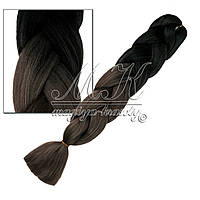 Канекалон для кос, черно-серый, градиент