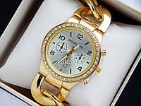 402a5444c0cf Золотые наручные часы Michael Kors серебристый циферблат, браслет в виде  цепи