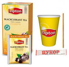 Чай Lipton Blackcurrant (черная смородина) 25ф/п  (1мешалка+1сахар+1конверт+1стакан)