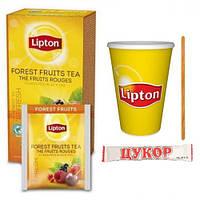 Чай Lipton Forest Fruits (лесные ягоды) 25ф/п  (1мешалка+1сахар+1конверт+1стакан)