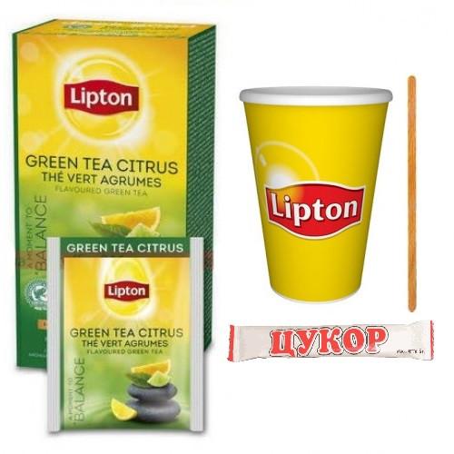 Чай Lipton Green Citrus (зеленый с цедрой) 25ф/п  (1конверт+1стакан)