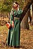 Вечернее платье с вышивкой на рукавах зеленого цвета (П16/7-236)