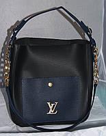 Черная с синим женская сумка-шоппер Louis Vuitton с косметичкой, Луи Виттон