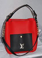 Красная с черным женская сумка-шоппер Louis Vuitton с косметичкой, Луи Виттон
