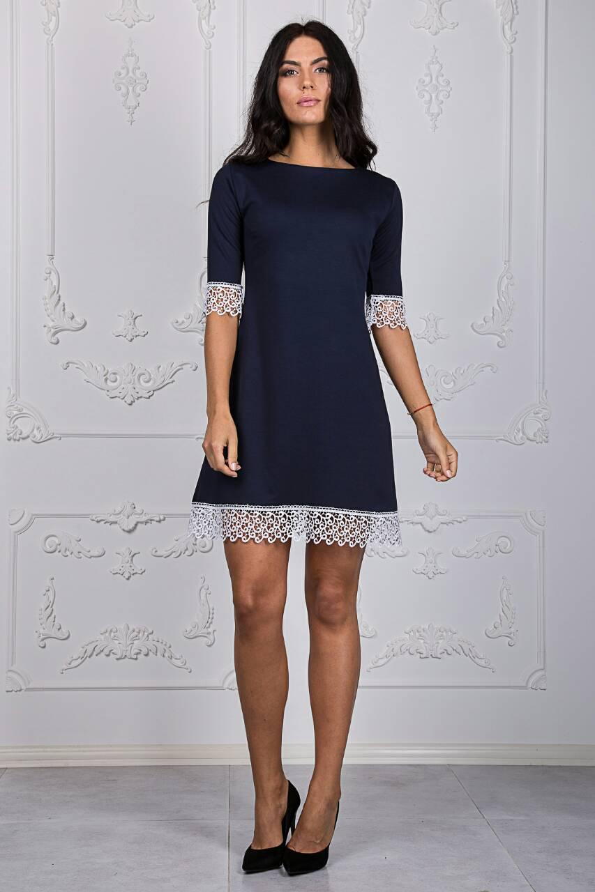 ed971d9a080 Темно-синее платье а-силуета с белым кружевом размер 44