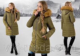Зимова куртка Флорида (хакі бежевий хутро)