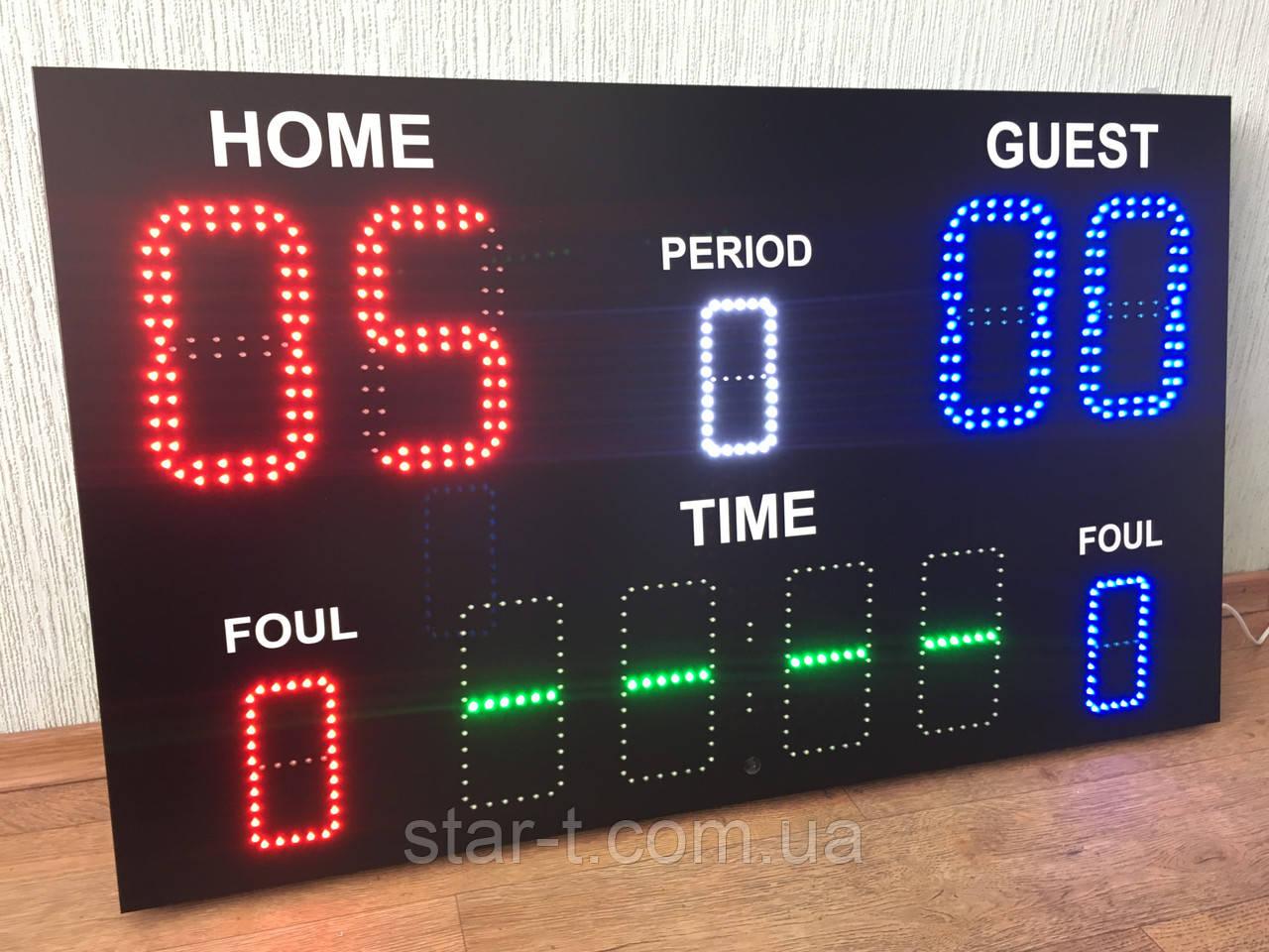 Спортивное табло, отображение таймер игры, счет игры, период, фол