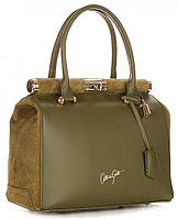 Очень красивая женская сумка VITTORIA GOTTI из натуральной кожи, Италия, вставки из натуральной замши, зеленая