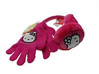 Малиновые наушники+перчатки на девочку