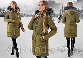 Зимова куртка Флорида (хакі сіре хутро)