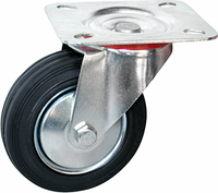 Поворотное колесо диаметром 200 мм из стандартной черной резины