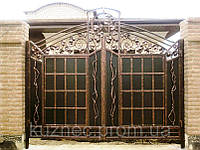 Распашные кованые ворота с калиткой