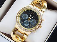 Наручные часы Michael Kors со стразами на браслете цепь с черным циферблатом, фото 1