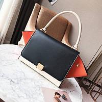 Модная вместительная сумка в стиле Celine Trapeze черного цвета