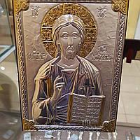 Икона Христа Спасителя Иисуса покрытая 999 серебра