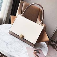 Модная вместительная сумка в стиле Celine Trapeze бежевого цвета
