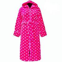 Женский махровый халат теплый домашний зимний велсофт мягкий с капюшоном на молнии в горошек Украина