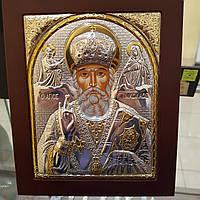 Икона Николай Чудотворец покрытая 999 серебра