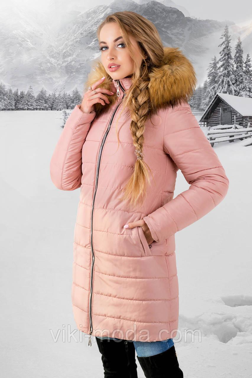 Зимняя куртка Флорида (розовая бежевый мех)