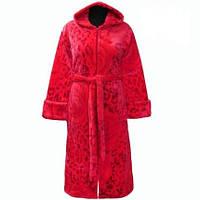 Женский махровый халат на поясе теплый домашний зимний велсофт мягкий махровый с капюшоном Украина
