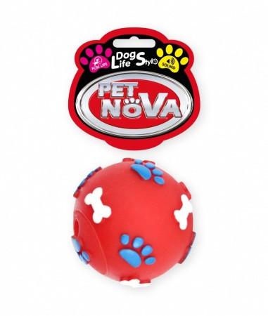 Игрушка для собак Мяч с гравировкой Pet Nova 6 см красный