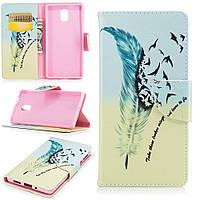 Чехол книжка TPU Wallet Printing для Nokia 3 Feather Pattern