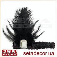 Прокат. Черная повязка-резинка с чёрными перьями и стразом на гангстерскую вечеринку.