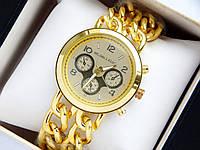 Кварцевые наручные часы Michael Kors золото, браслет в виде двух цепочек, фото 1