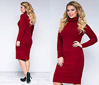 Платье женское демисезонное, материал - ангора рубчик, цвет - бордовый