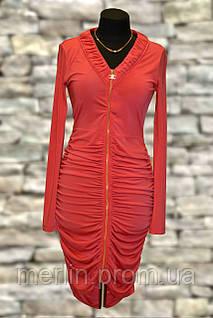 Коралловое платье на замке