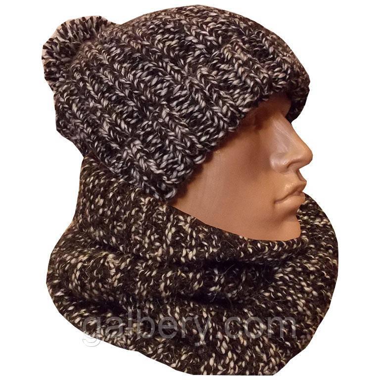 мужская вязаная шапка объемной ручной вязки с помпоном и шарф