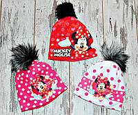 Теплые зимние шапки флисе для девочки(много вариантов) Микки