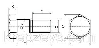 Схема габаритных размеров призонного болта DIN 609