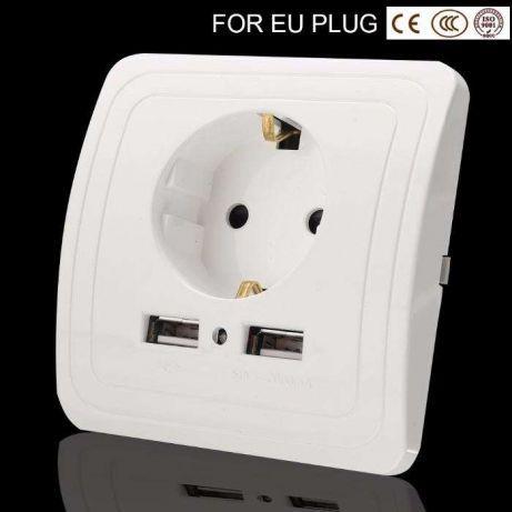 Розетка с USB 2 порта 2А