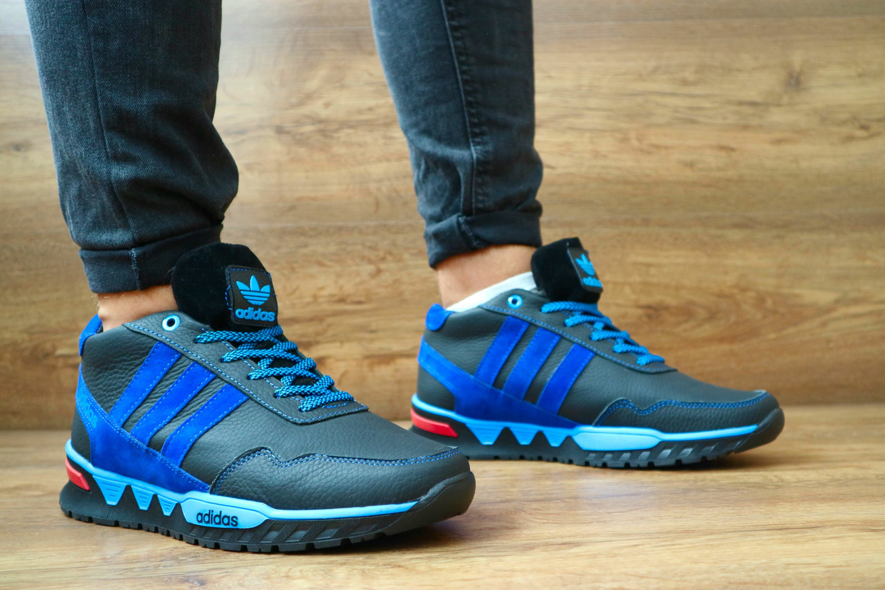 Мужские зимние кроссовки Adidas (черный\голубой), ТОП-реплика