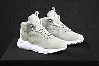 Мужские зимние кроссовки Nike Huarache Winter Grey (высокие зимние Найк Аир Хуарачи) серые