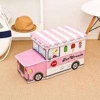 Пуф Короб складной, ящик для игрушек С КАПОТОМ Розовый