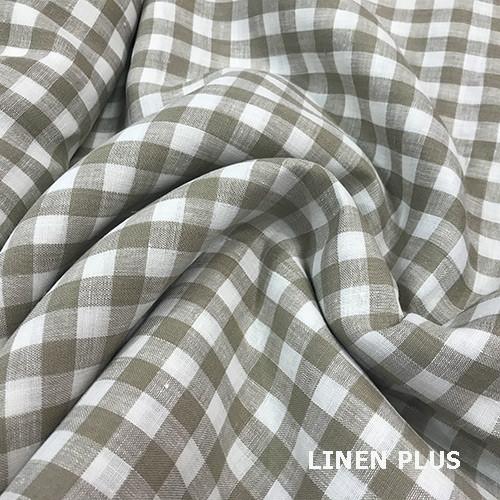 Лляна тканина в клітку 100% льон колір 1/33
