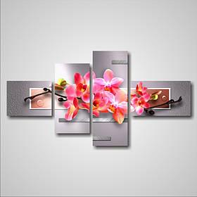 """Модульна картина """"Рожева орхідея і краплі роси"""""""
