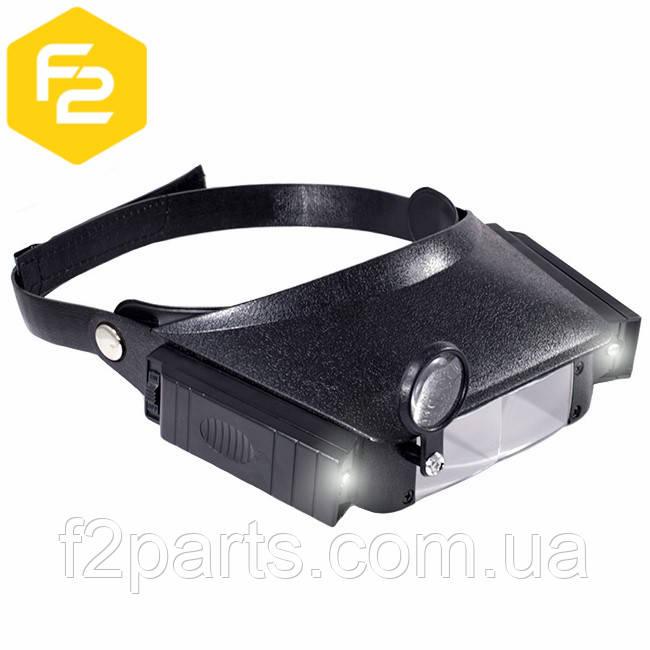 Бинокулярная лупа с подсветкой и сменными увеличительными стеклами, MG-81007